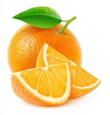 Плакат Изолированные оранжевые фрукты и ломтики