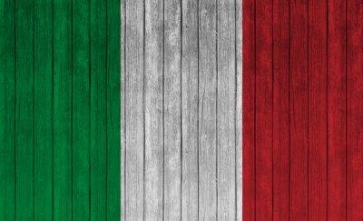 Плакат Италия флаг на старом фоне дерева