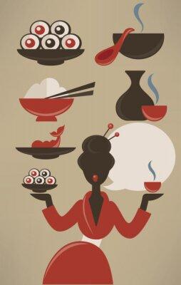 Плакат Японское меню, вектор коллекции продуктов питания в плоском стиле