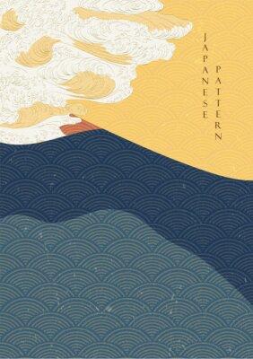 Плакат Japanese wave template with Geometric pattern vector.