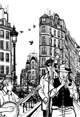 Плакат Джаз группа на одной из улиц Парижа
