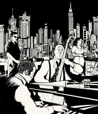 Плакат Джаз-группа играет в Нью-Йорке
