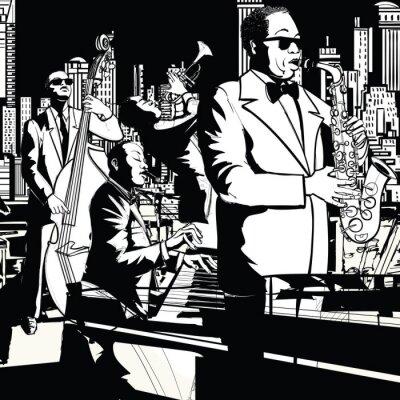 Плакат Джаз группа играет в Нью-Йорке