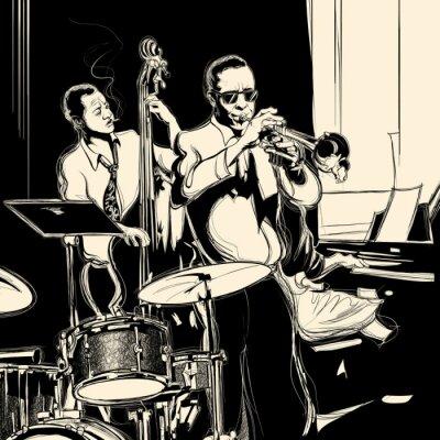 Плакат Джаз-бэнд с двойной бас труба фортепиано и барабана