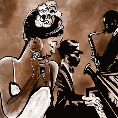 Плакат Джаз группа с певицей, саксофона и фортепиано - иллюстрация