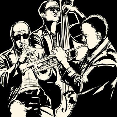 Плакат джаз-бэнд с трубы и контрабаса