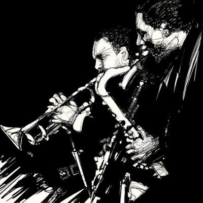 Плакат джаз латунь музыкант
