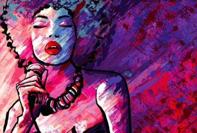 Плакат Джазовая певица с микрофоном на фоне гранж