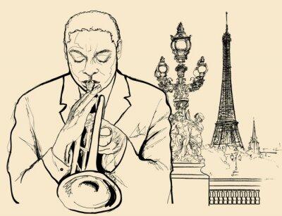 Плакат джазовый трубач на Александра моста в Париже (чернилами чертеж)