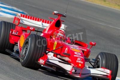 Плакат Херес де ла Фронтера, Испания - Октябрь 11: Михаэль Шумахер Scuderia Ferrari F1 11 октября 2006 года по тренировке в Херес-де-ла-Фронтера, Испания