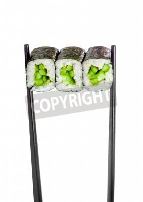 Плакат Kappa maki roll. Sushi Roll on a white background