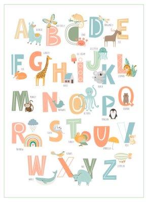 Плакат Kids english alphabet, A to Z with cute cartoon animals. Editable vector illustration