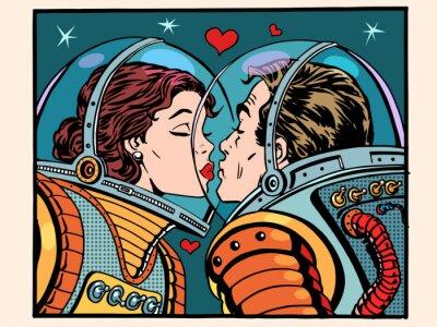 Плакат Поцелуй пространство мужчина и женщина астронавтов