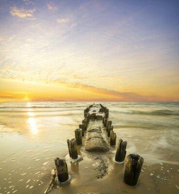 Плакат Krajobraz Morski-falochron я zachód słońca