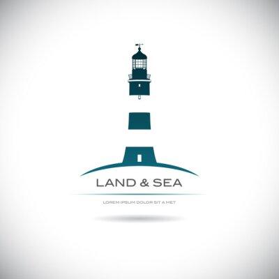 Плакат Этикетка с изображением маяка