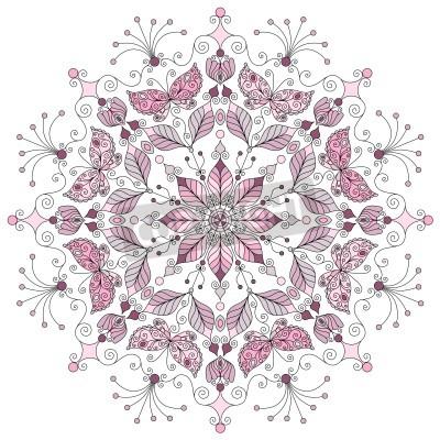 Плакат Lacy pastel round vintage pattern on white  vector
