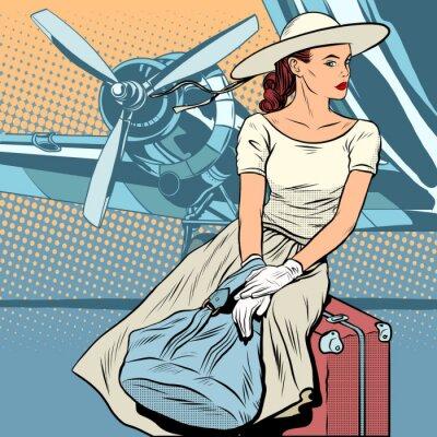 Плакат Леди путешественник в аэропорту