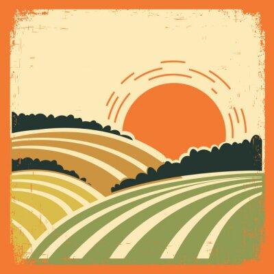 Плакат пейзаж с полей на старой плакат