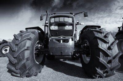 Плакат большое хозяйство трактор под грозовым небом