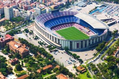 Плакат Крупнейший стадион Барселоны с вертолета. Каталония