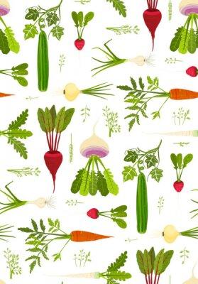 Плакат Листовые овощи и зелень Бесшовные узор фона