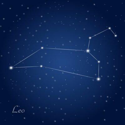 Плакат Созвездие Льва знак зодиака на звездное ночное небо