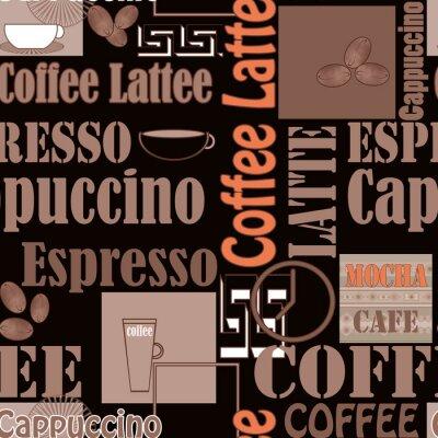 Плакат Маркировочного кофе и иконки бесшовные модели ретро фон