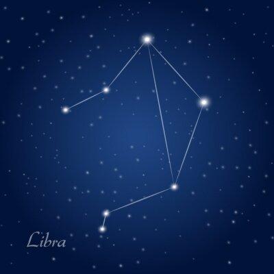 Плакат Весы созвездие знак зодиака на звездное ночное небо