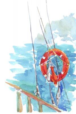 Плакат море акварель иллюстрации спасательным океана