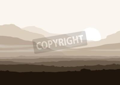 Плакат Безжизненный пейзаж с огромными горами над солнцем. Вектор панорамы eps10.