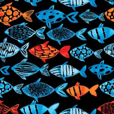 Плакат Свет акварель синий и золотой рыбки на черном фоне.