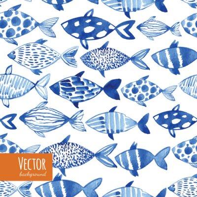 Плакат Свет акварель синие рыбы на черном фоне.