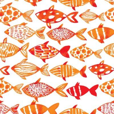 Плакат Легкие акварельные золотые рыбы. Плавно черепицей рисунок рыбы. Ve