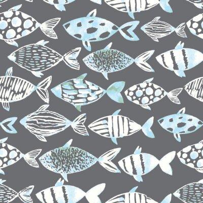 Плакат Свет акварель белые рыбы на сером фоне.