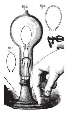 Плакат Lightbulb, vintage illustration