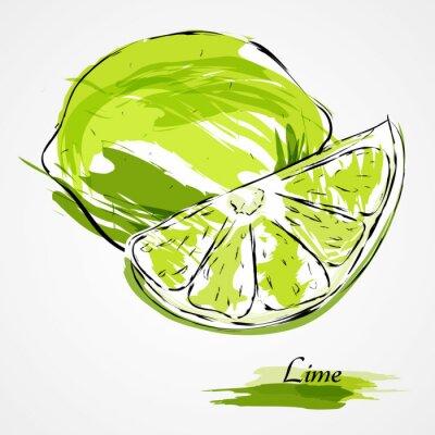 Плакат известь фрукты