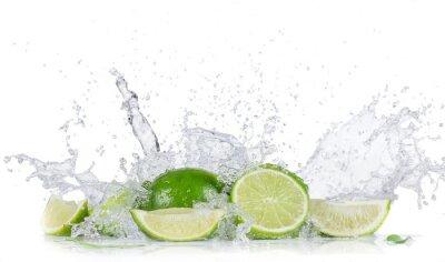 Плакат Limes with water splash