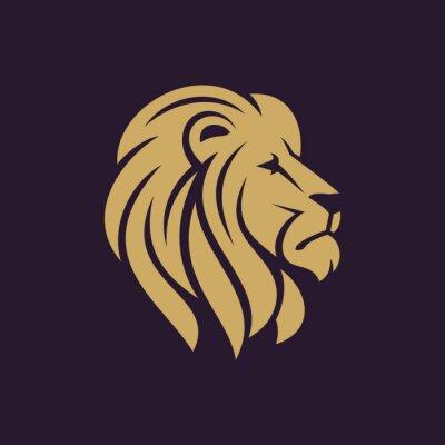 Плакат Львиная голова логотип или значок в одном цвете. Векторная иллюстрация.