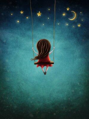 Плакат Little fairy girl swingig