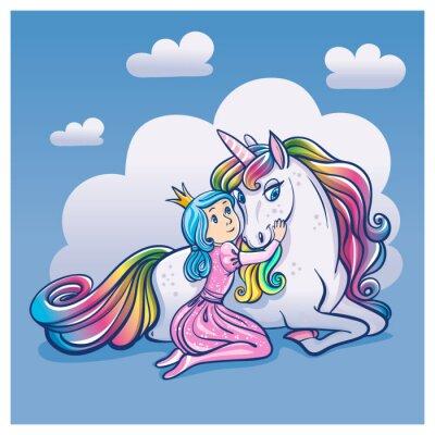 Плакат Маленькая принцесса девушка и Симпатичный единорог, векторные иллюстрации