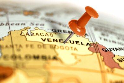 Плакат Местоположение Венесуэла. Красный штифт на карте.