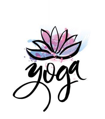 Плакат Логотип для студии йоги или класса медитации. Дизайн логотипа акварелью. Концепция медитации. Силуэт лотоса. Векторная иллюстрация для футболки печать