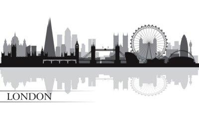 Плакат Город Лондонский горизонт фоне силуэта