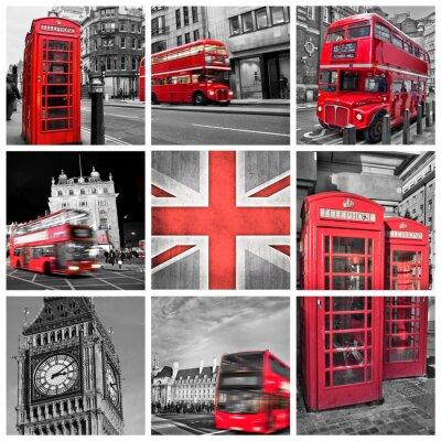 Плакат Лондон фото коллаж, селективный цвет