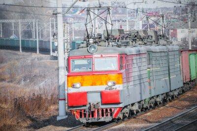 Плакат Длинные грузовой поезд.