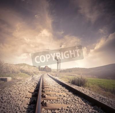 Плакат Длинные железная дорога с восходом солнца