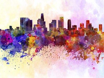 Плакат Лос-Анджелес небоскребов в фоне акварель