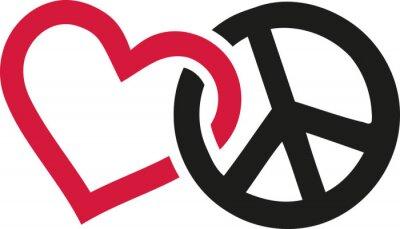 Плакат Любовь и мир знаки переплетаются