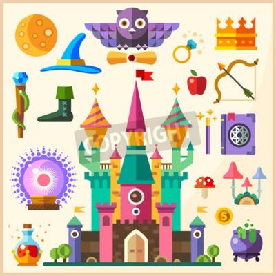 Плакат Магия и сказка. Волшебный замок. Вектор плоский значок и иллюстрации: замок кольцо сыча корону персонал шляпа книга заклинаний Волшебная палочка магический шар котелок микстура грибы лук стрелка яблок
