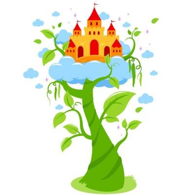 Плакат Магический beanstalk и замок в облаках.